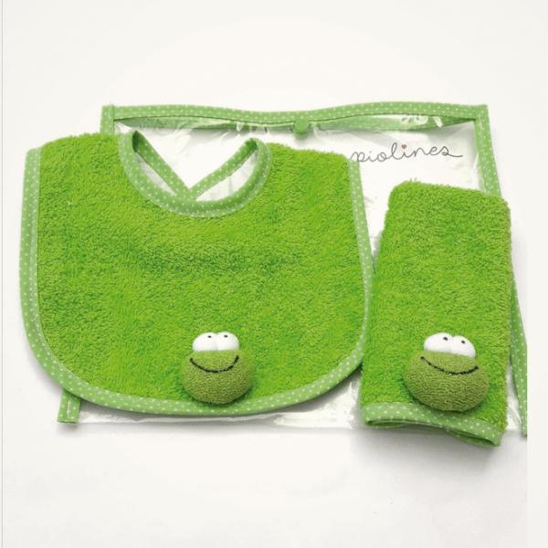 Set de babita y babero verde