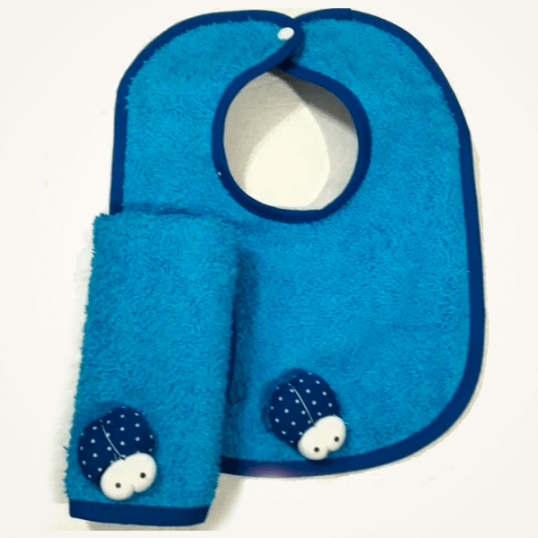 Set de babita y babero azul